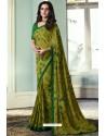 Stylish Green Printed Georgette Saree