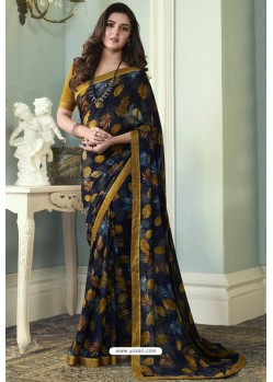 Beautiful Navy Printed Georgette Saree