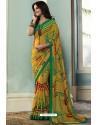 Yellow Printed Georgette Saree