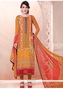 Classy Resham Work Georgette Multi Colour Churidar Salwar Suit