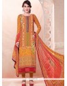 Classy Resham Work Georgette Multi Colour Churidar Salwar Suit