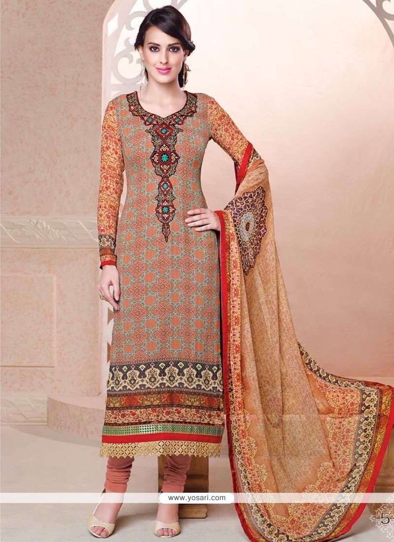 Trendy Multi Colour Digital Print Work Georgette Churidar Salwar Suit