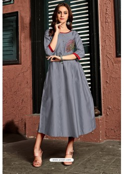 Grey Cotton Satin Embroidered Kurti