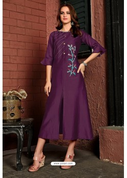 Purple Cotton Satin Embroidered Kurti