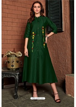 Dark Green Cotton Satin Embroidered Kurti