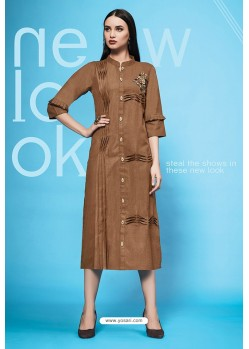 Brown Embroidered Cotton Kurti
