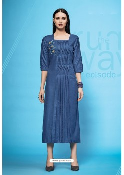 Peacock Blue Embroidered Cotton Kurti