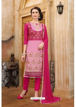 Rani And Pink Cotton Embroidered Straight Suit
