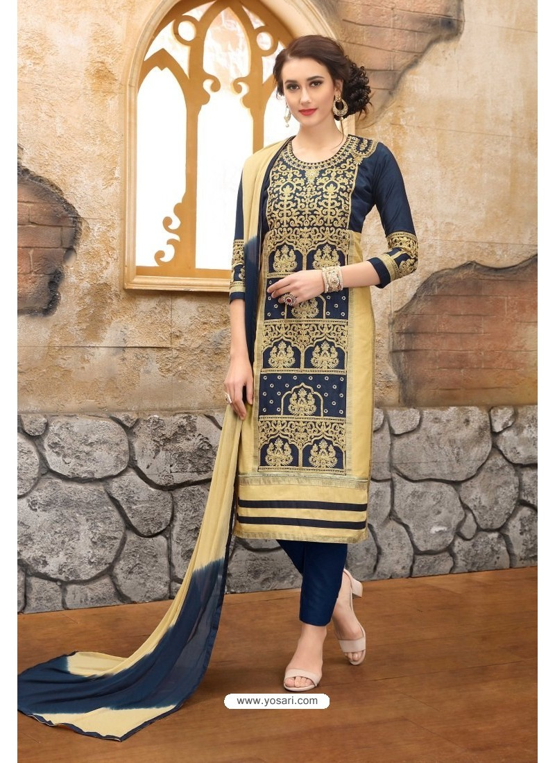 Beige And Blue Cotton Embroidered Straight Suit