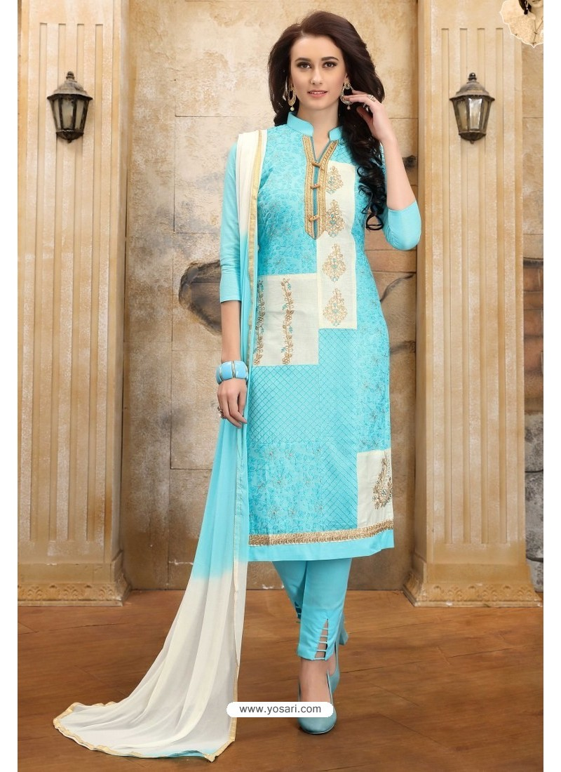 Aqua Blue Cotton Embroidered Straight Suit