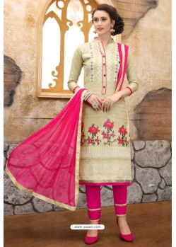Light Beige And Pink Cotton Embroidered Straight Suit