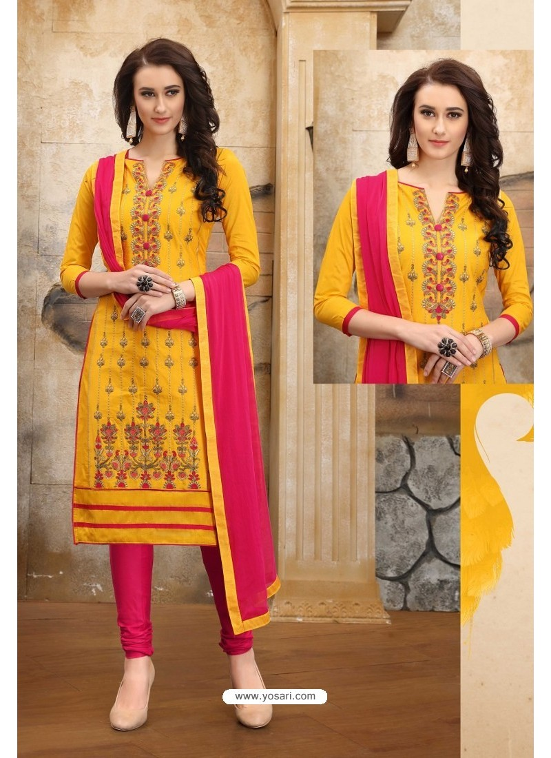 Yellow And Rani Cotton Embroidered Straight Suit