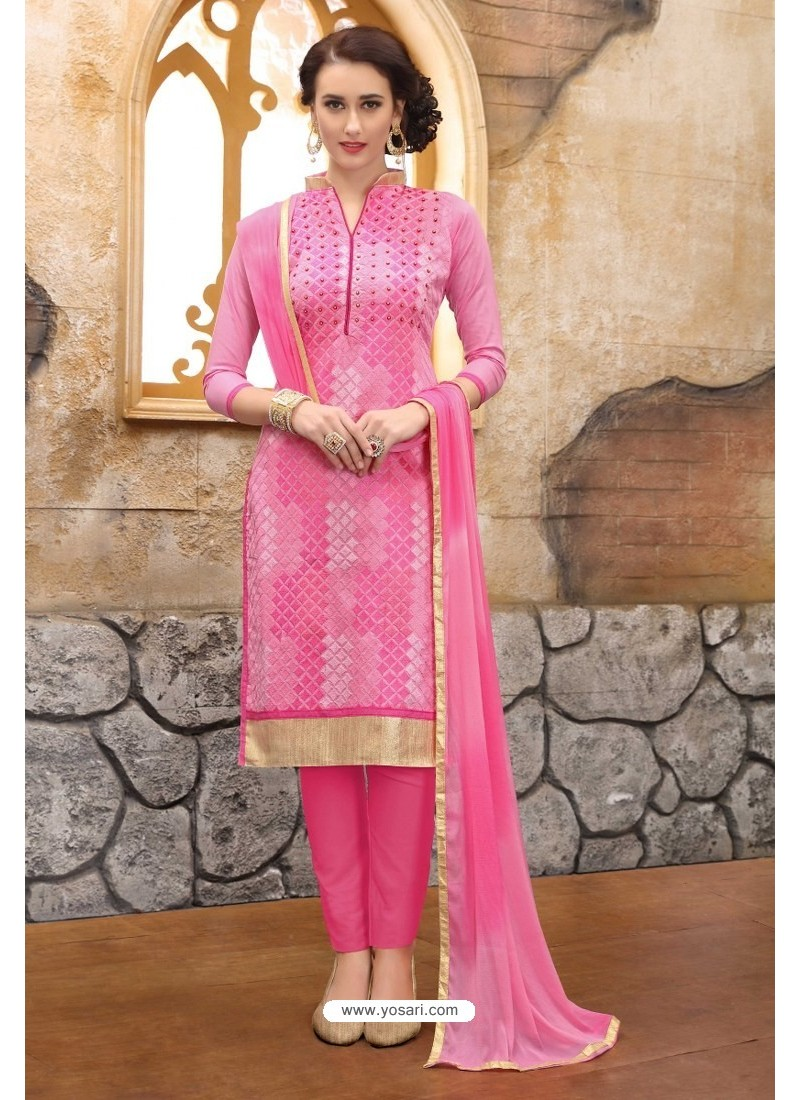 Light Pink Cotton Embroidered Straight Suit