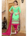 Jade Green And Rani Cotton Embroidered Straight Suit