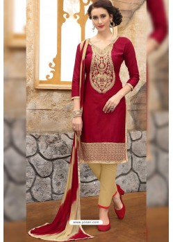 Maroon And Beige Cotton Embroidered Straight Suit