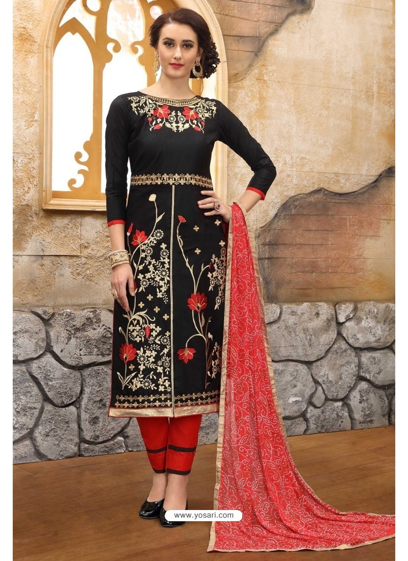 Black And Red Cotton Embroidered Straight Suit
