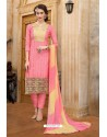 Pink Cotton Embroidered Straight Suit