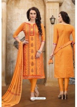 Orange Cotton Embroidered Straight Suit
