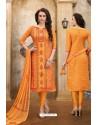 Orange Cotton Embroidered Straight Suit