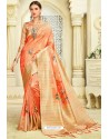 Orange Silk Zari Worked Party Wear Saree