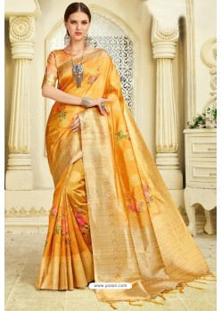 Yellow Silk Zari Worked Party Wear Saree