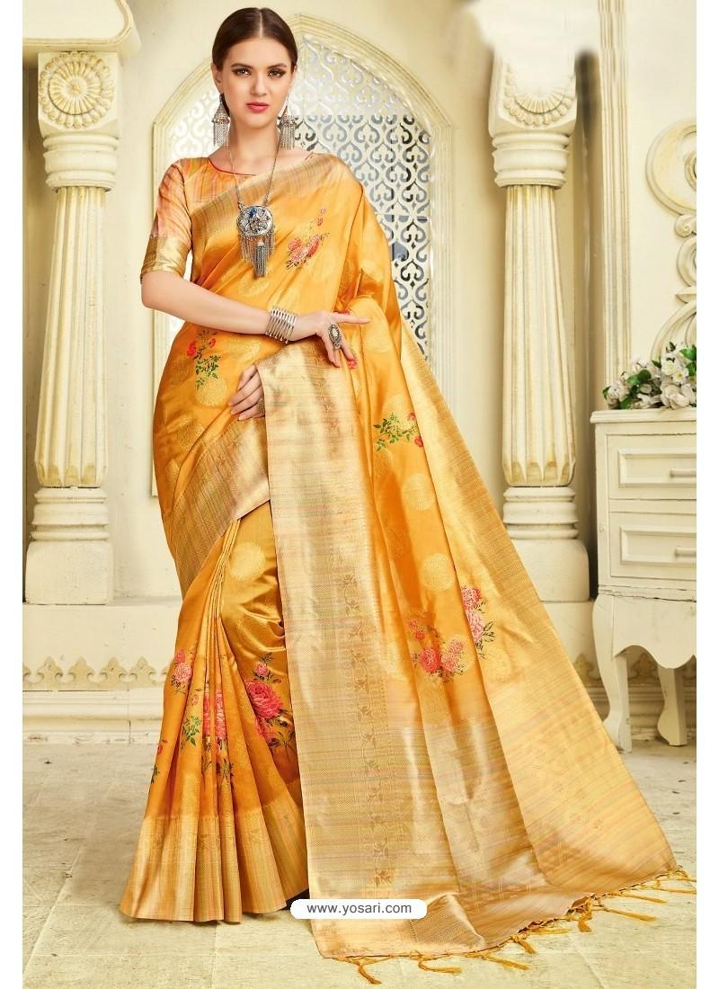 Yellow Silk Zari Worked Party Wear Saree