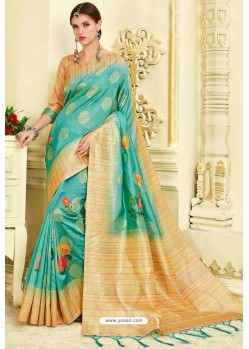 Sky Blue Silk Zari Worked Party Wear Saree