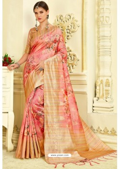 Pink Silk Zari Worked Party Wear Saree