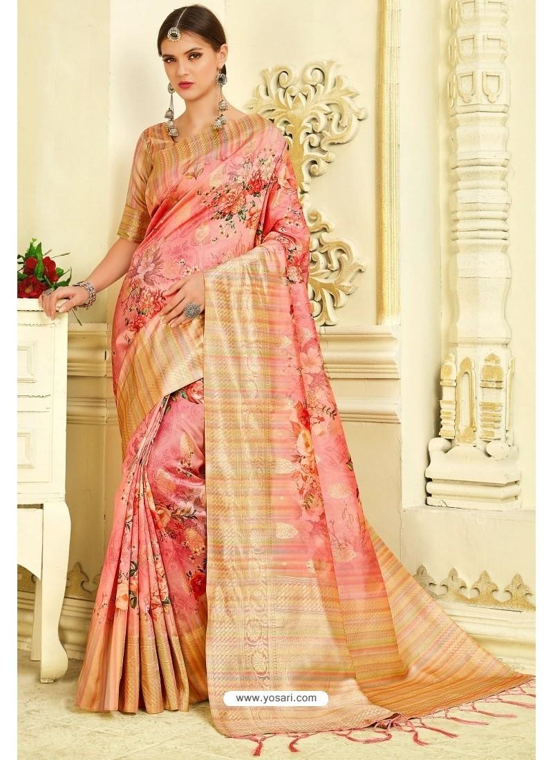 Pink Silk Zari Worked Party Wear Saree