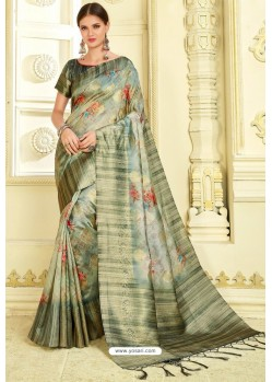Multi Colour Silk Zari Worked Party Wear Saree