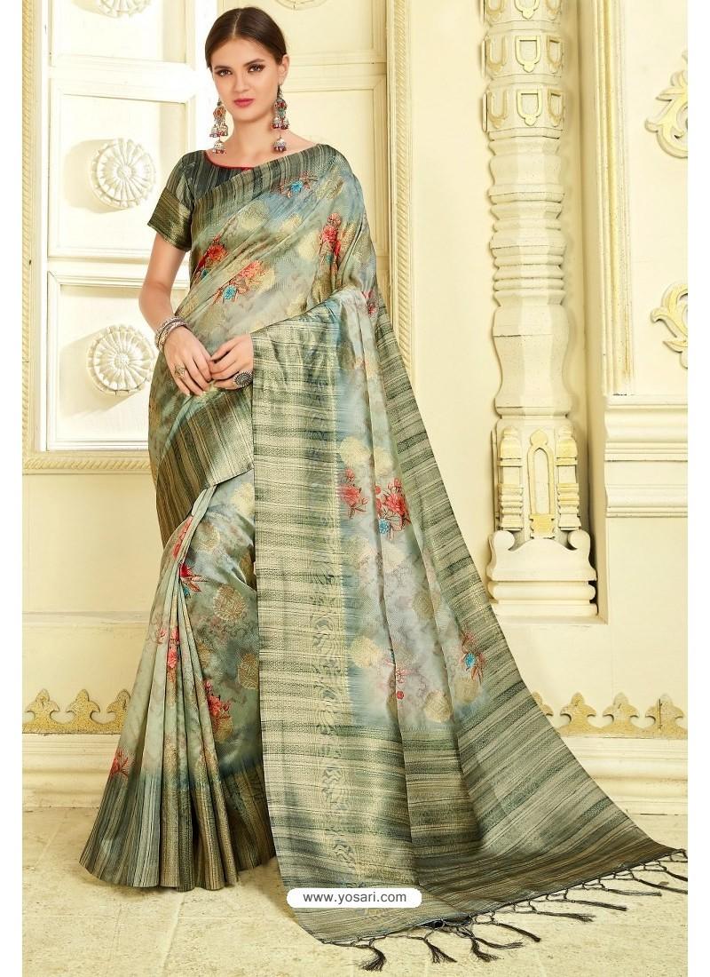 Multi Colour Silk Zari Worked Party Wear Saree