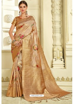 Golden Silk Zari Worked Party Wear Saree