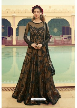 Beige And Black Butterfly Net Embroidered Designer Anarkali Suit