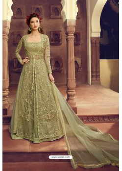 Olive Green Butterfly Net Embroidered Designer Anarkali Suit