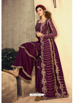 Purple Butterfly Net Embroidered Designer Anarkali Suit