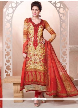 Hypnotizing Georgette Cream And Red Lace Work Churidar Designer Suit
