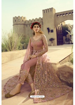 Pink Butterfly Net Embroidered Designer Anarkali Suit