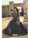Navy Blue Butterfly Net Embroidered Designer Anarkali Suit