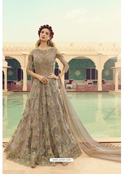 Light Brown Butterfly Net Embroidered Designer Anarkali Suit