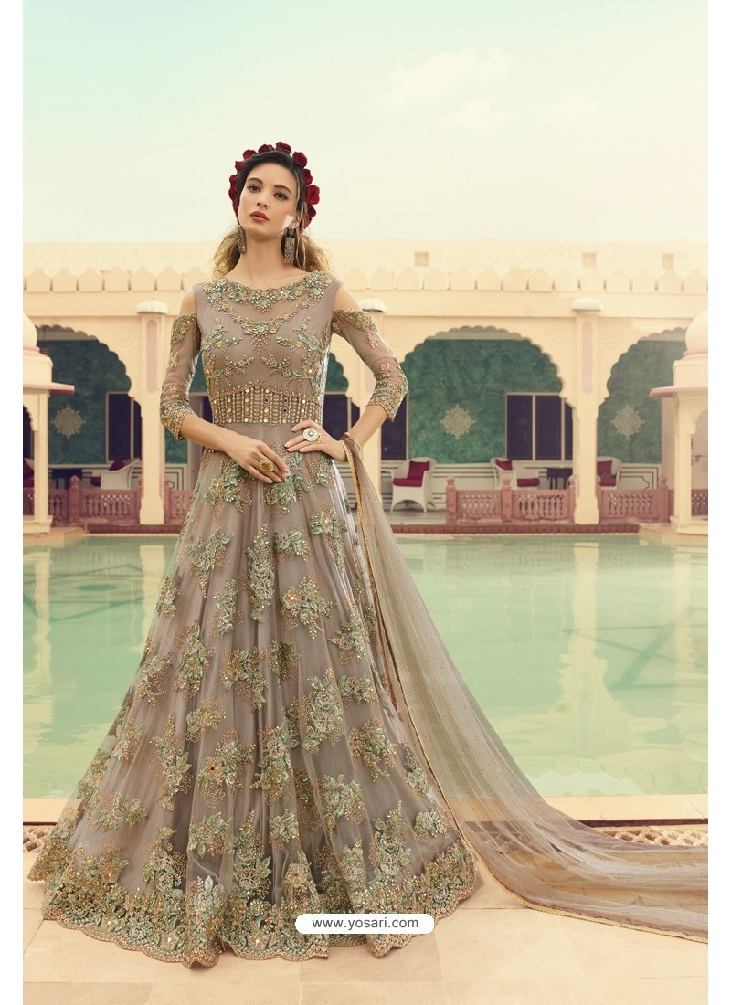 Light Brown Butterfly Net Embroidered Designer Anarkali Suit
