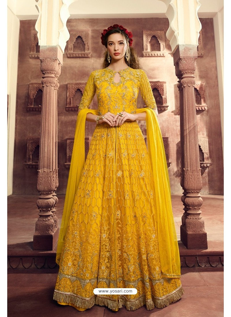 Yellow Butterfly Net Embroidered Designer Anarkali Suit