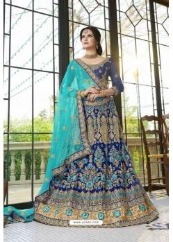Dark Blue Net Zari Embroidered Designer Lehenga Choli