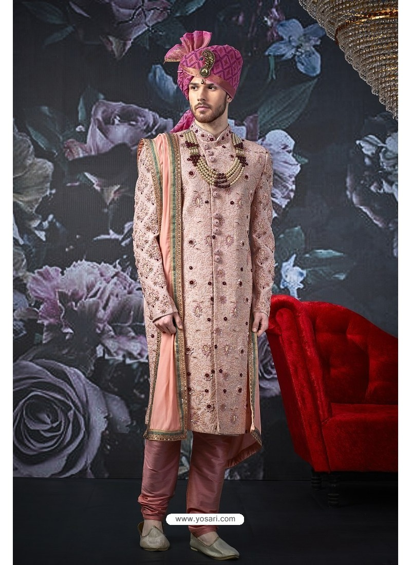 Dusty Pink Art Banarasi Silk Designer Embroidered Sherwani