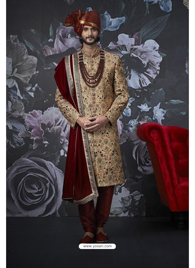 Gold And Maroon Art Banarasi Silk Designer Embroidered Sherwani