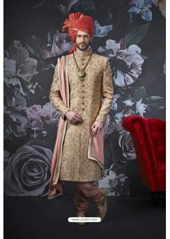 Beige Art Banarasi Silk Designer Embroidered Sherwani