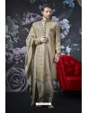Light Beige Art Banarasi Silk Designer Embroidered Sherwani