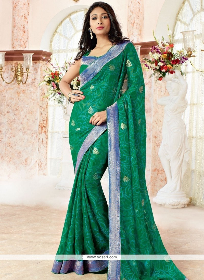 Prodigious Faux Chiffon Green Print Work Casual Saree