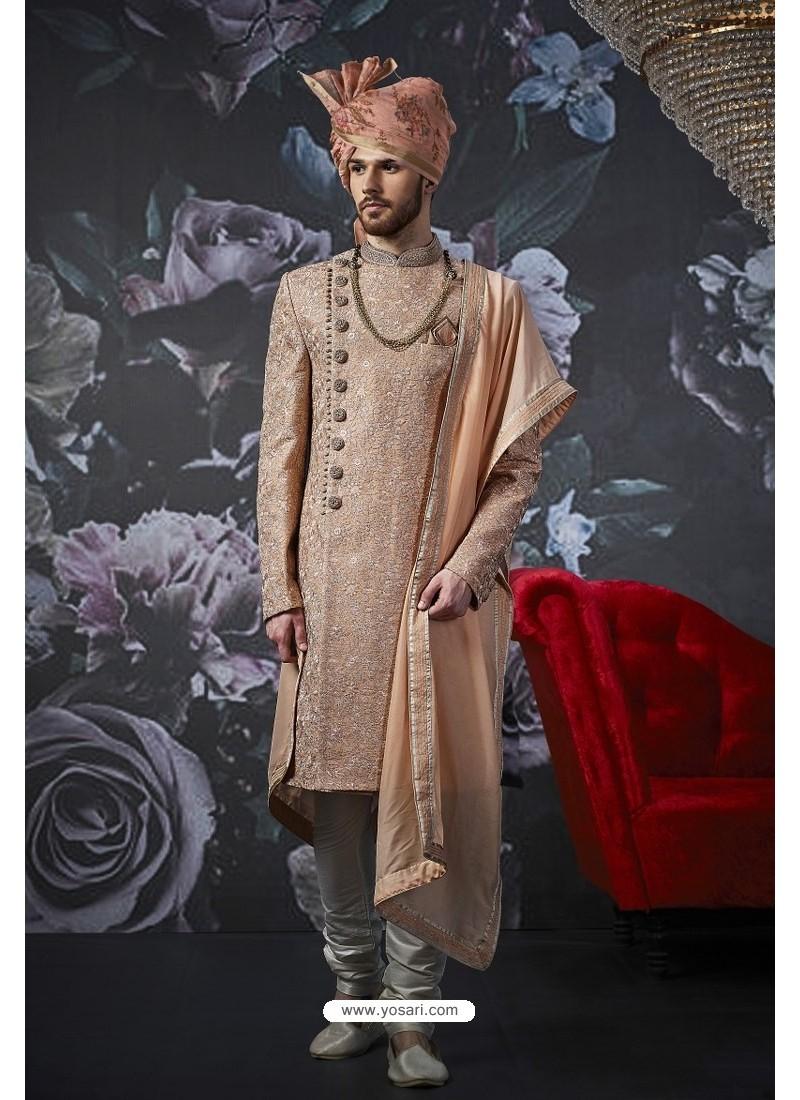 Peach Art Banarasi Silk Designer Embroidered Sherwani