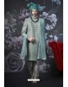 Turquoise Art Banarasi Silk Designer Embroidered Sherwani