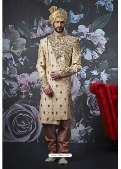Golden Art Banarasi Silk Designer Embroidered Sherwani